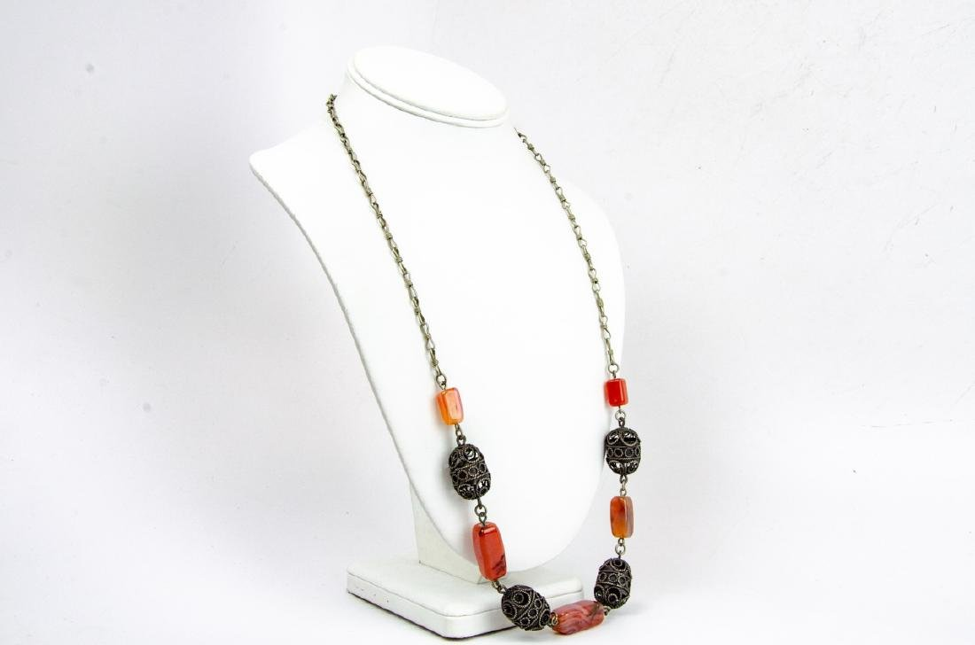 Banded Agate & Cannetille Beaded Necklace - 6