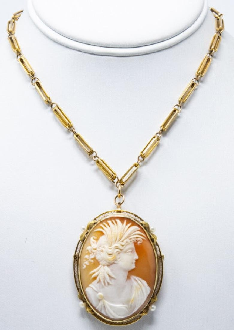 Antique 14k Yellow Gold & Seed Pearl Cameo Pendant