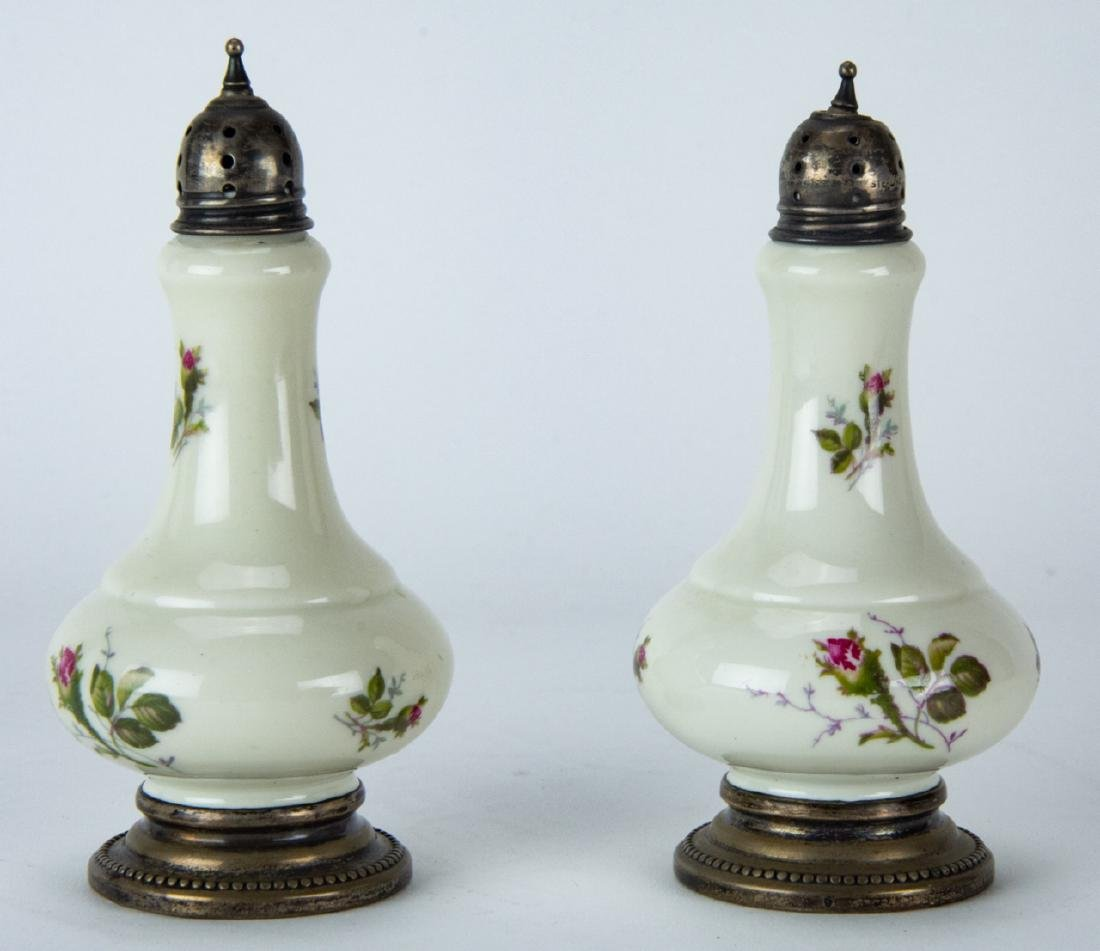 Pair Sterling Silver & Rosenthal Porcelain Shakers
