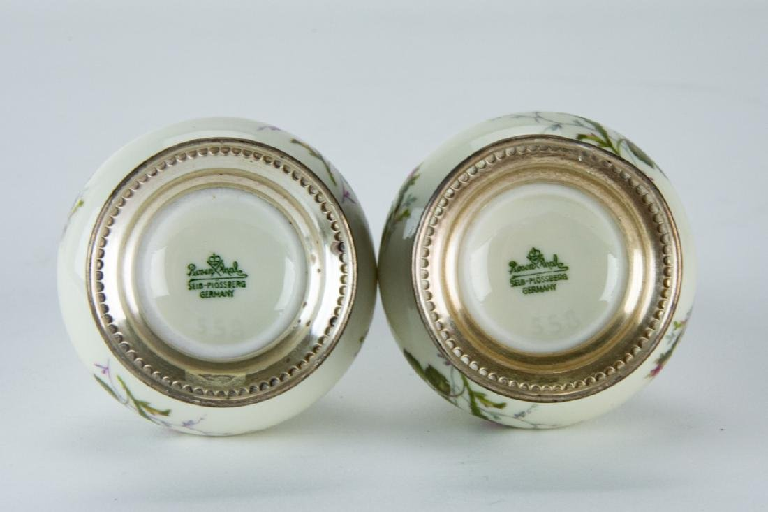 Pair Sterling Silver & Rosenthal Porcelain Shakers - 7