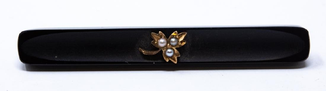 Antique 14kt Yellow Gold Onyx & Seed Pearl Brooch