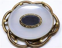 Huge Antique Yellow Gold & Chalcedony Mourning Pin