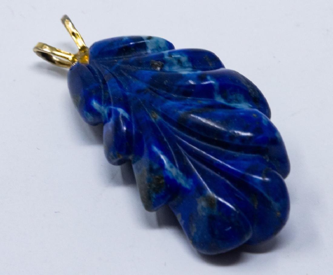 Antique Carved Lapis Lazuli Necklace Pendant
