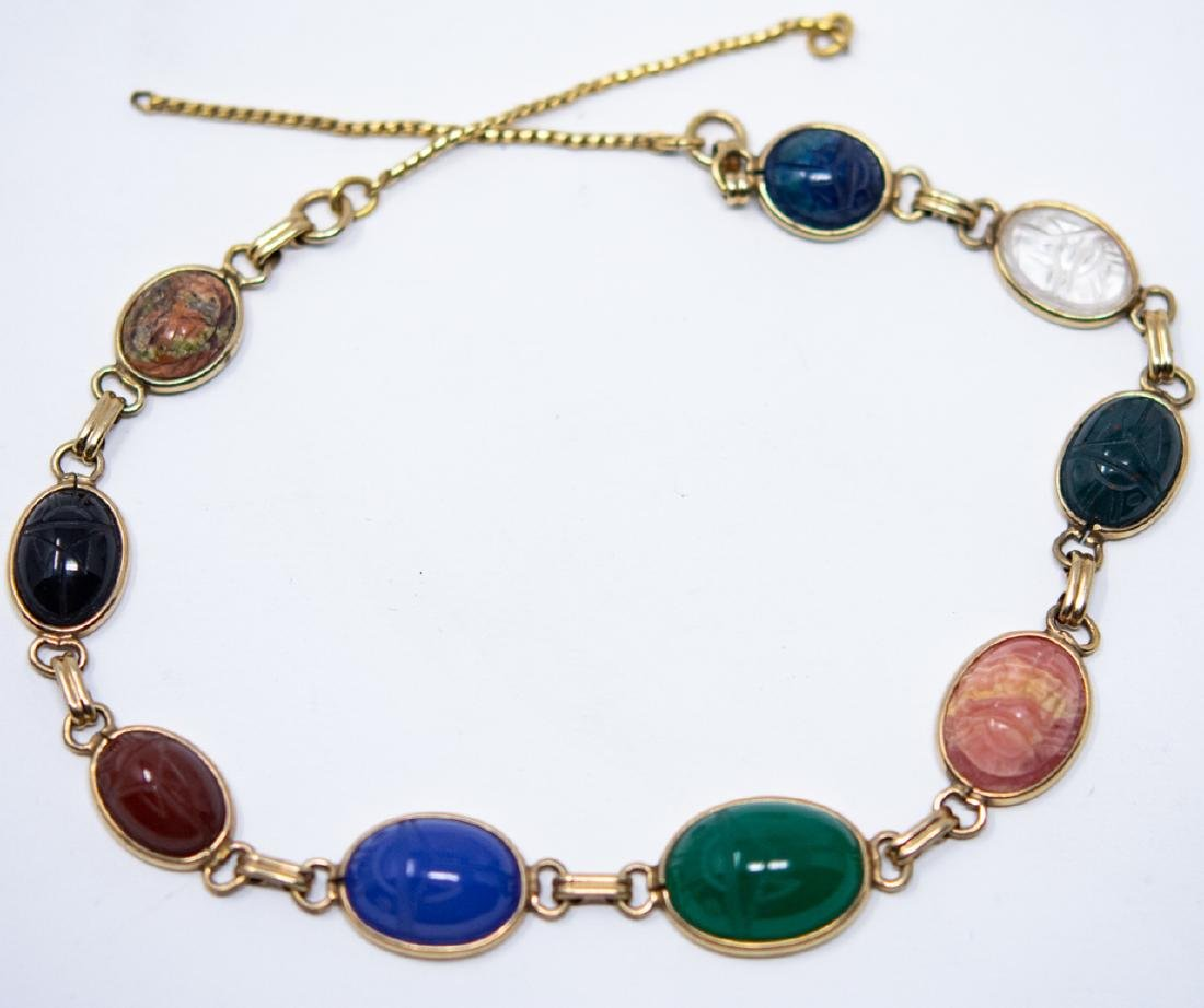 Vintage Egyptian Revival Scarab Necklace