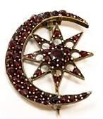 Antique 19th C Bohemian Garnet Brooch  Pin