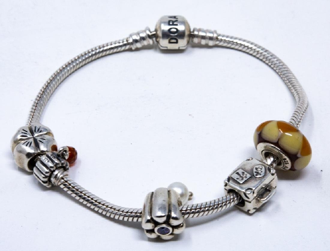 Sterling Silver Pandora Bracelet and Charms