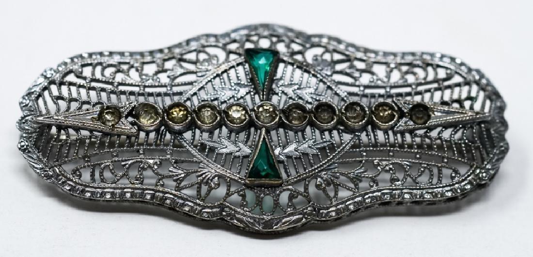 Antique Edwardian Sterling Silver Filigree Brooch