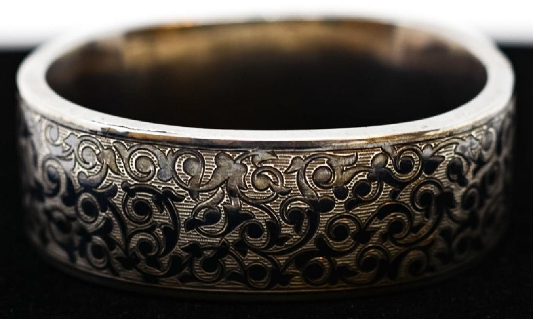 Antique Russian Niello Silver Bangle Bracelet