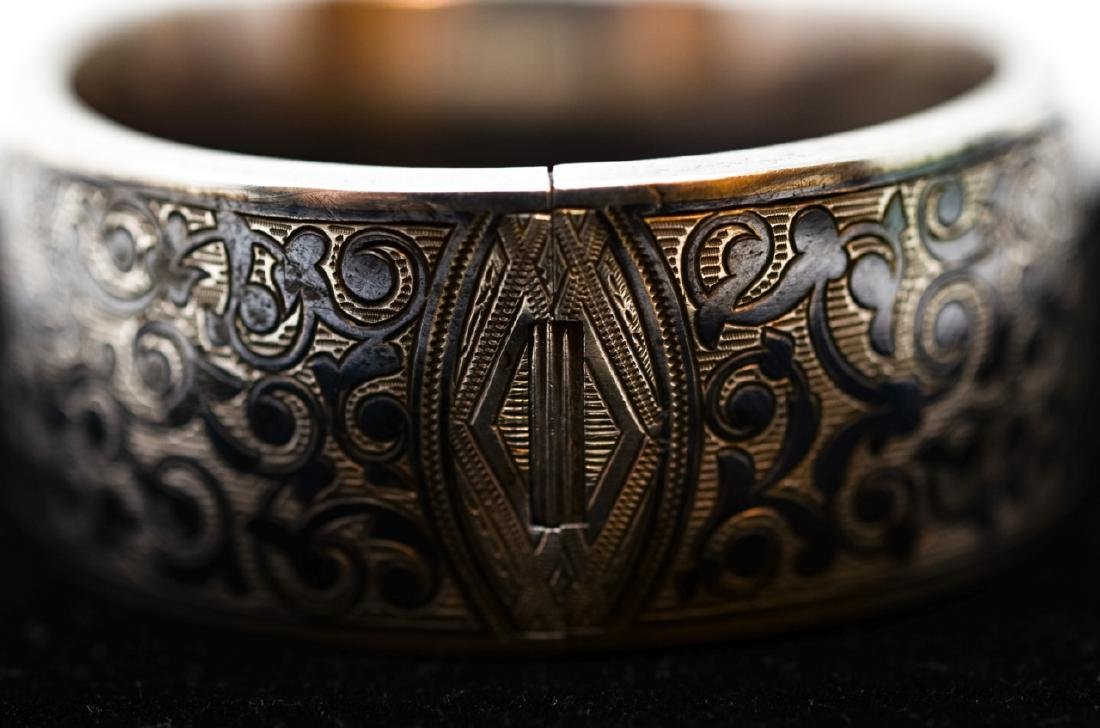 Antique Russian Niello Silver Bangle Bracelet - 2
