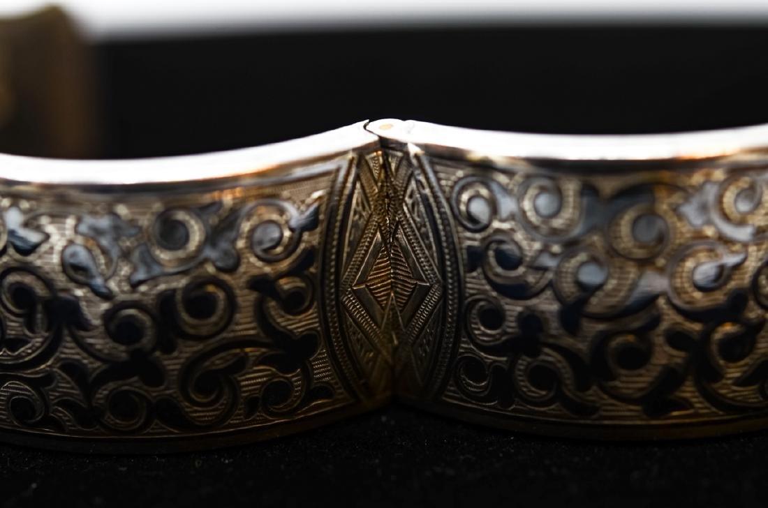 Antique Russian Niello Silver Bangle Bracelet - 5