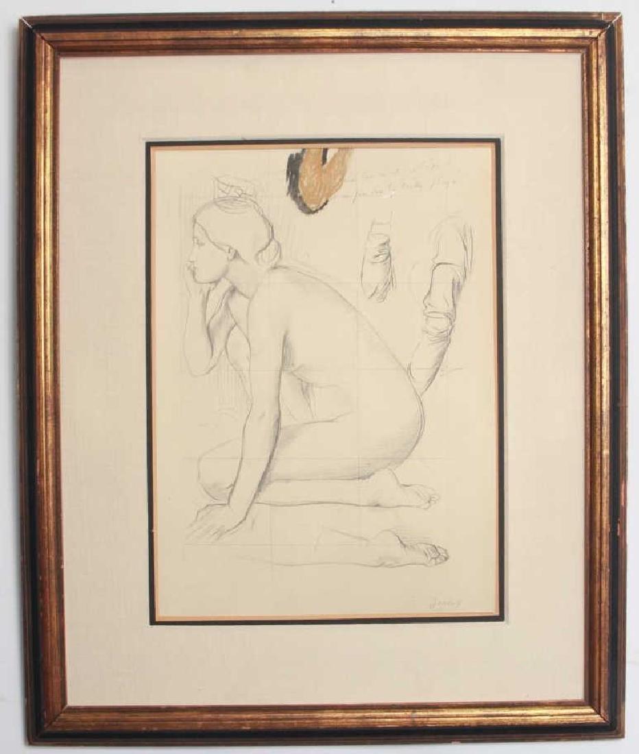 Edgar Degas Framed Engraving of a Nude