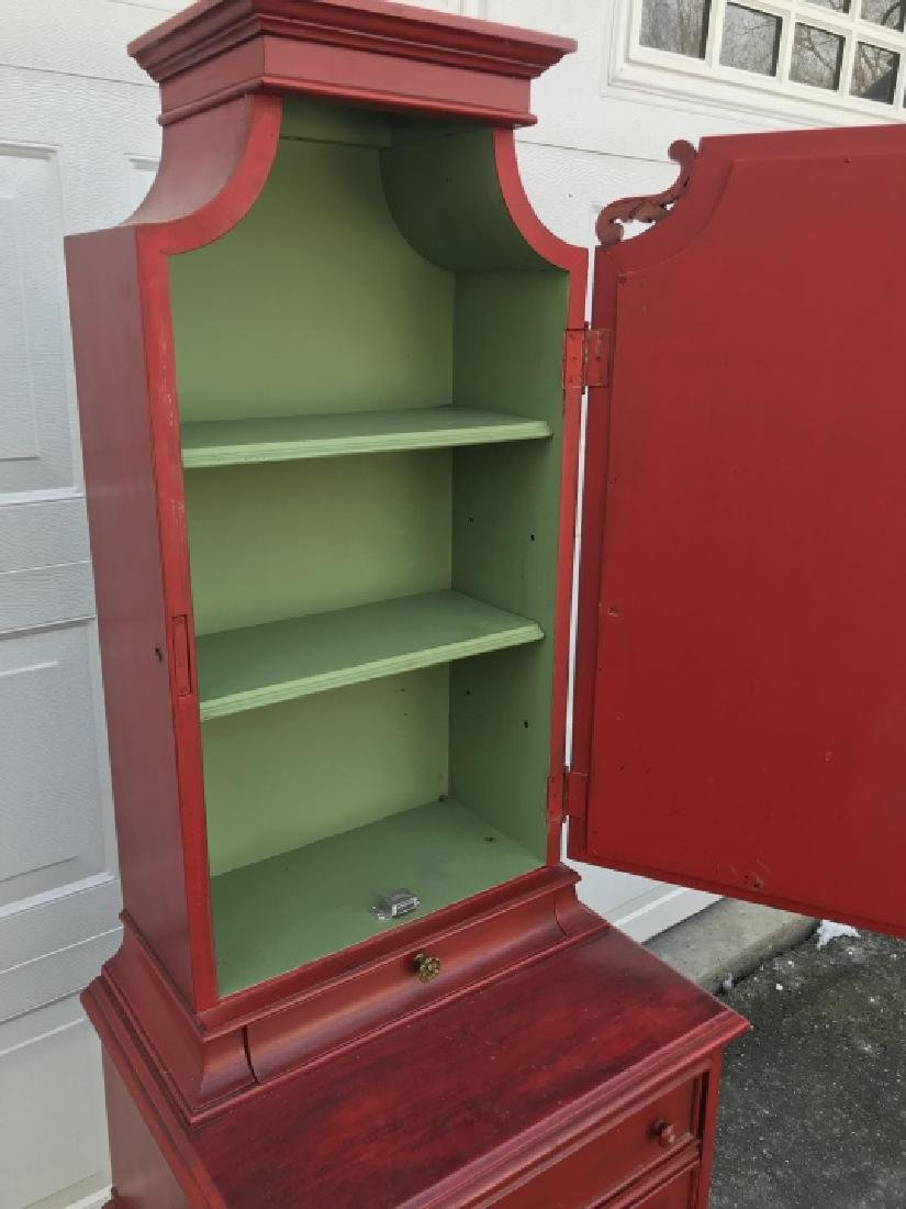 Vintage Red Painted Wooden Cupboard Cabinet - 2