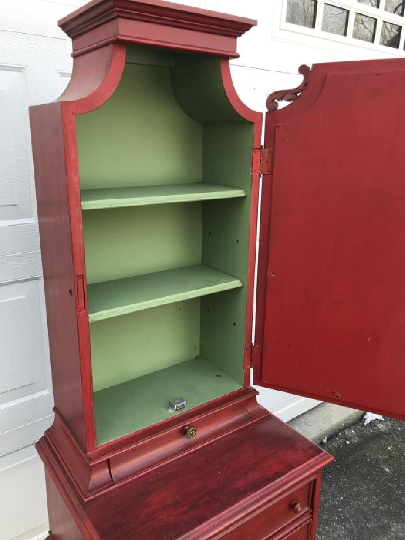 Vintage Red Painted Wooden Cupboard Cabinet - 4