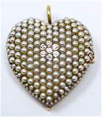 Antique 19th C 14k Gold Seed Pearl & Diamond Heart
