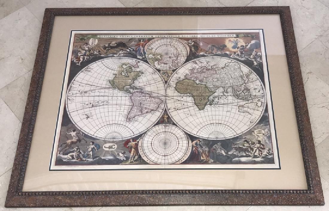Antique Framed World Map w Latin Inscriptions