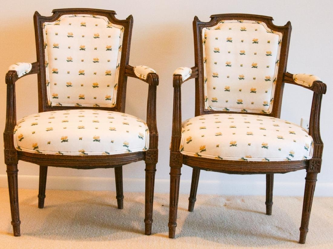 Pair French Bergere Louis XV Chairs