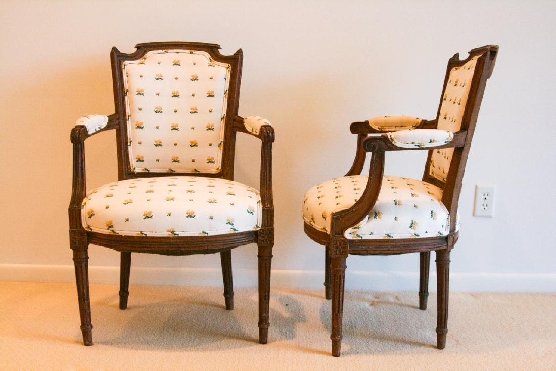 Pair French Bergere Louis XV Chairs - 2