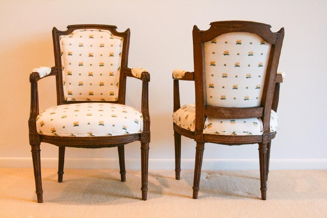 Pair French Bergere Louis XV Chairs - 4