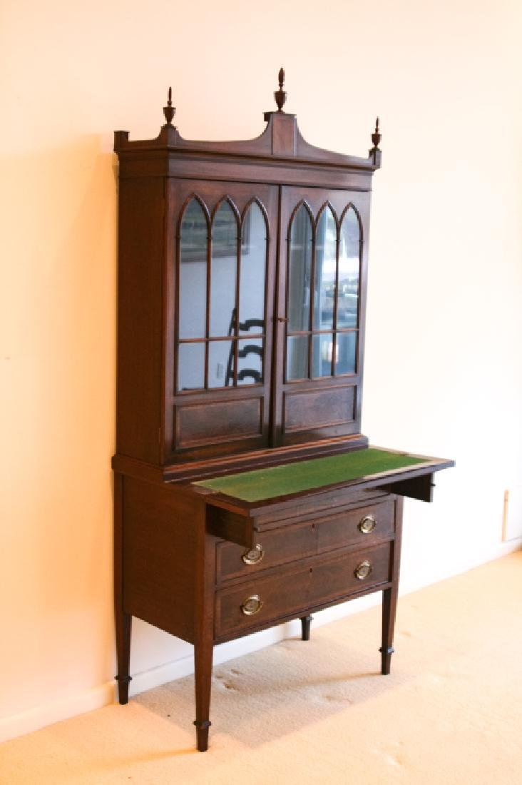 English Chippendale Glass Front Secretary - 3