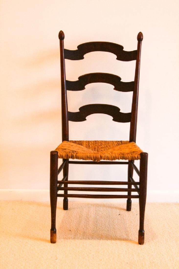 Antique Ladder Back Rush Seat Side Chair - 2
