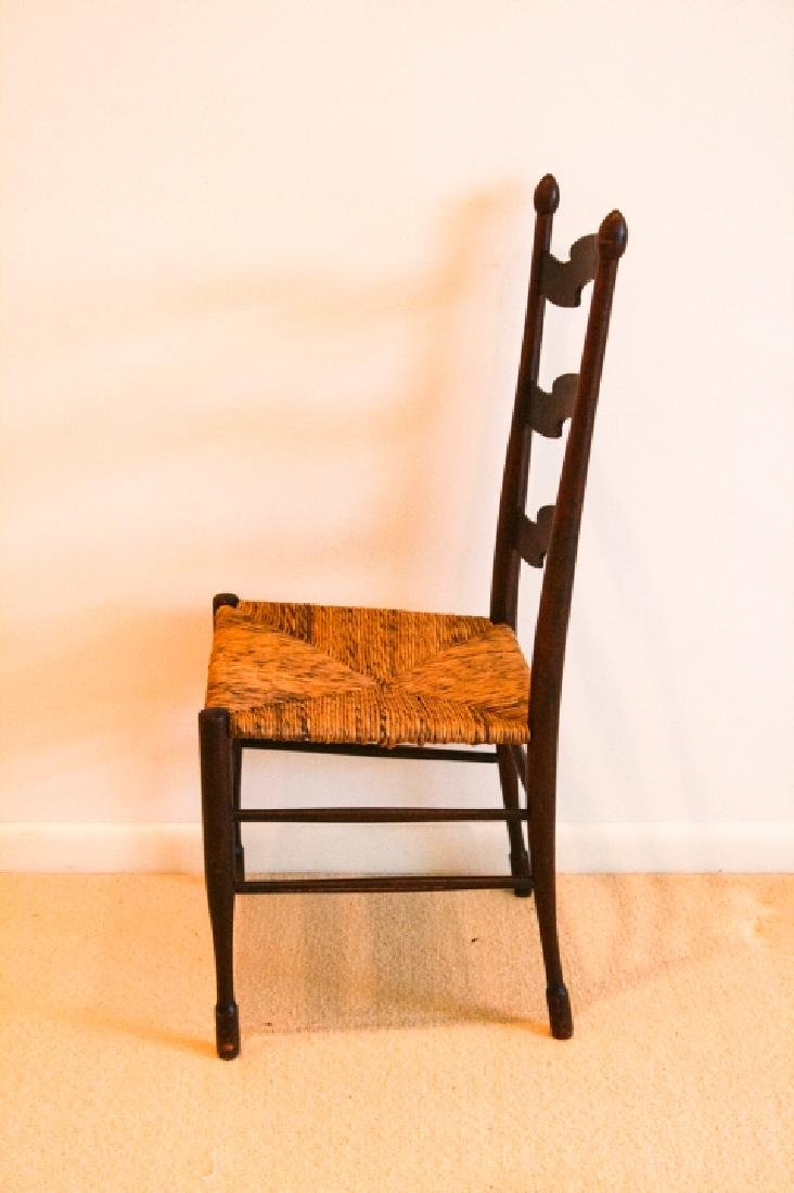 Antique Ladder Back Rush Seat Side Chair - 3