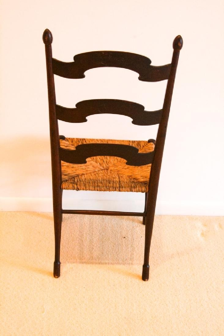 Antique Ladder Back Rush Seat Side Chair - 4