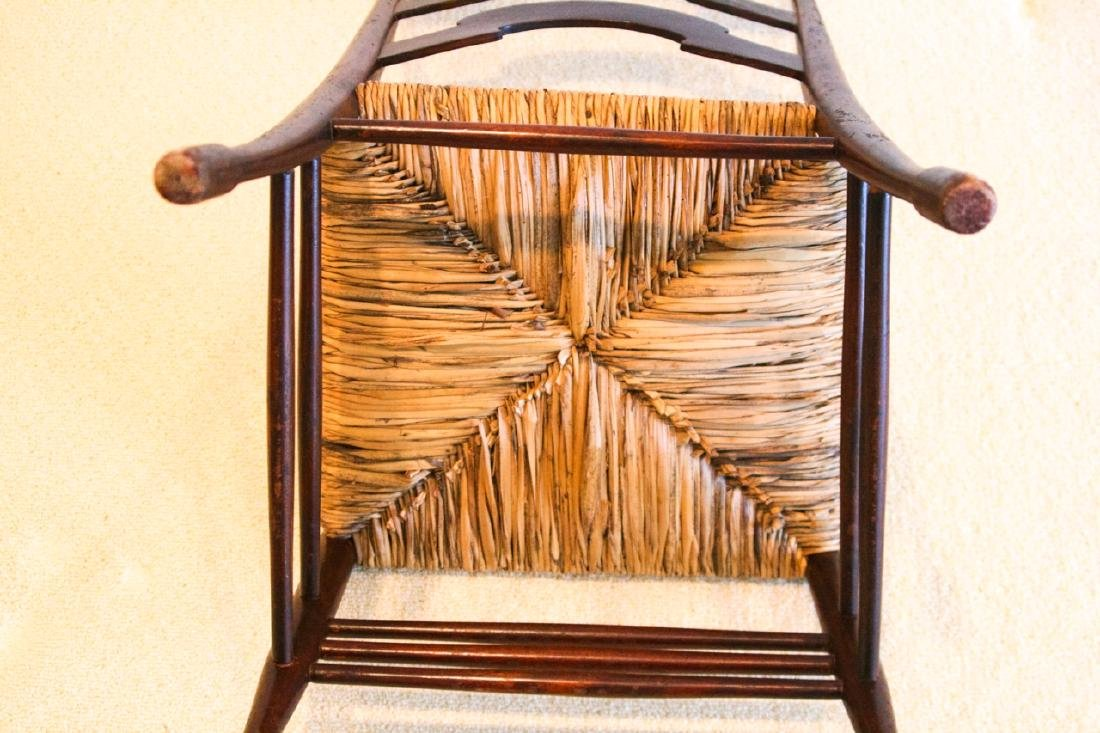 Antique Ladder Back Rush Seat Side Chair - 6