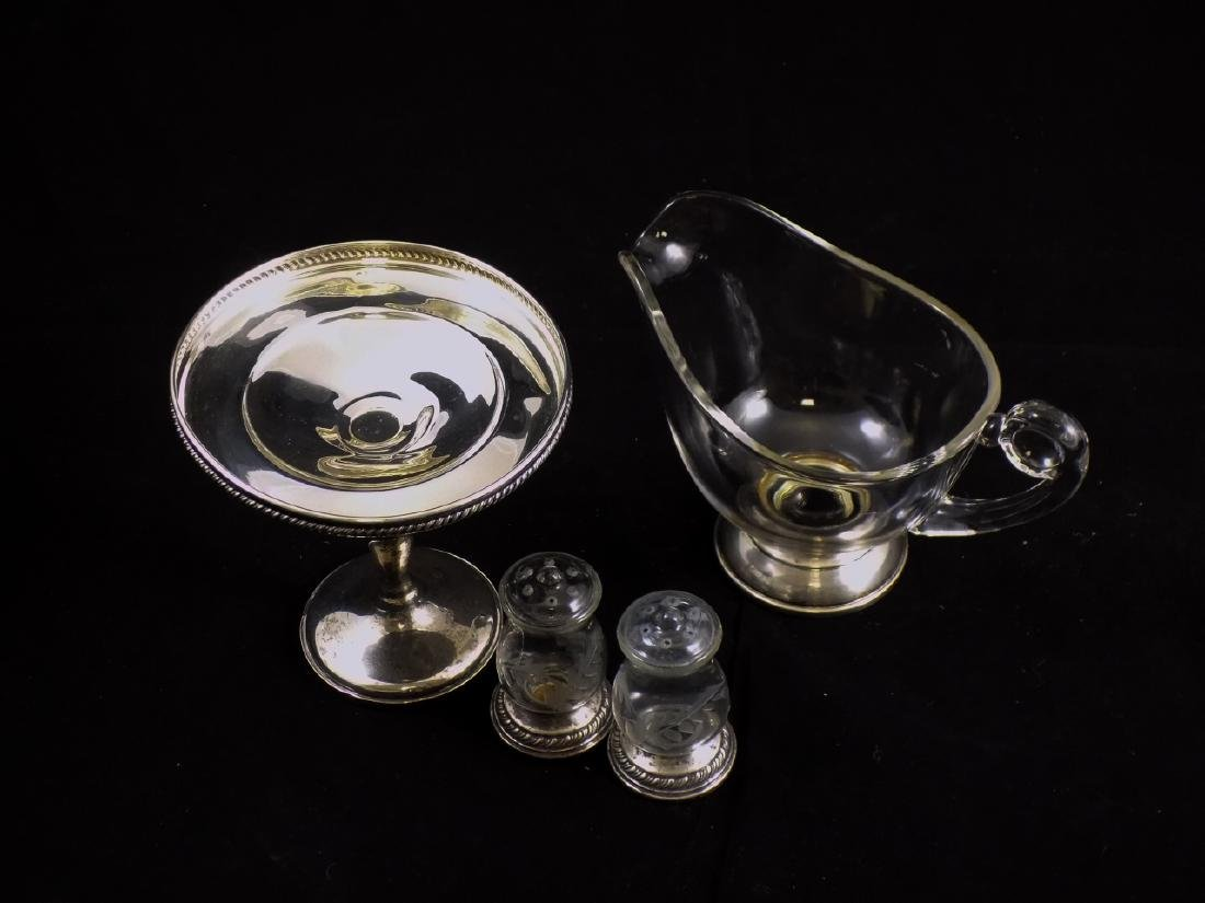 Trio of Sterling Silver & Glass Serve Ware Pieces - 8