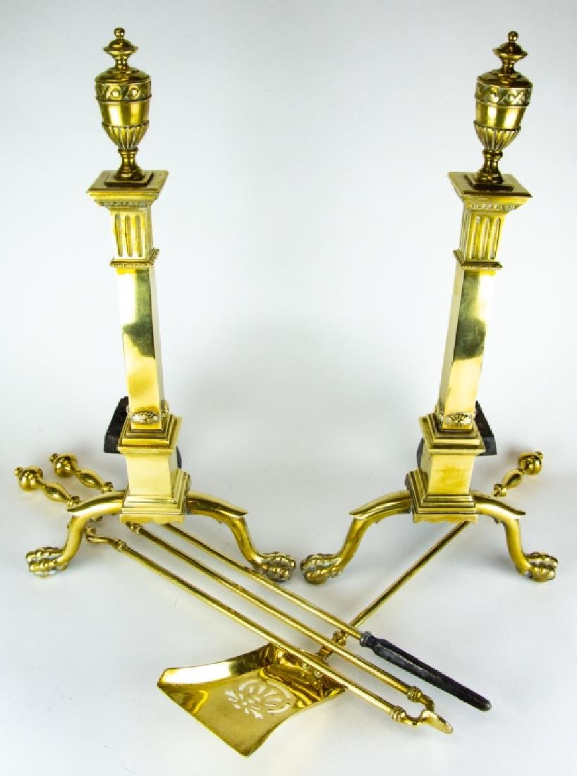 Brass Fire Place Andirons and Tools, Claw Foot