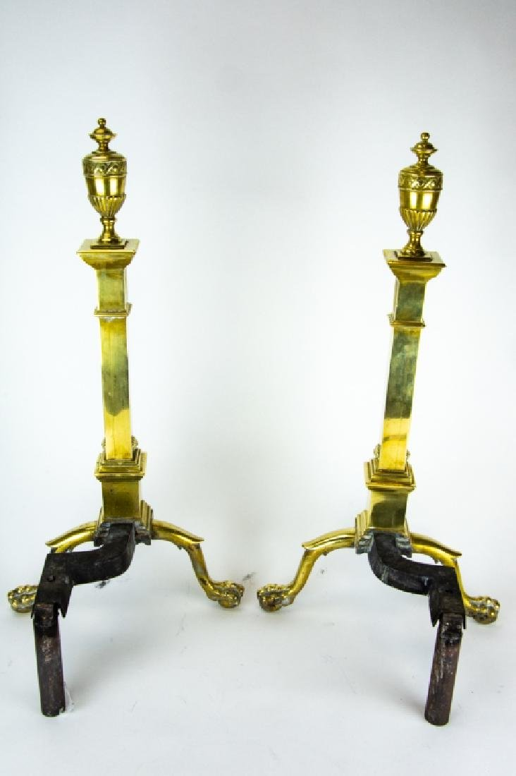 Brass Fire Place Andirons and Tools, Claw Foot - 3