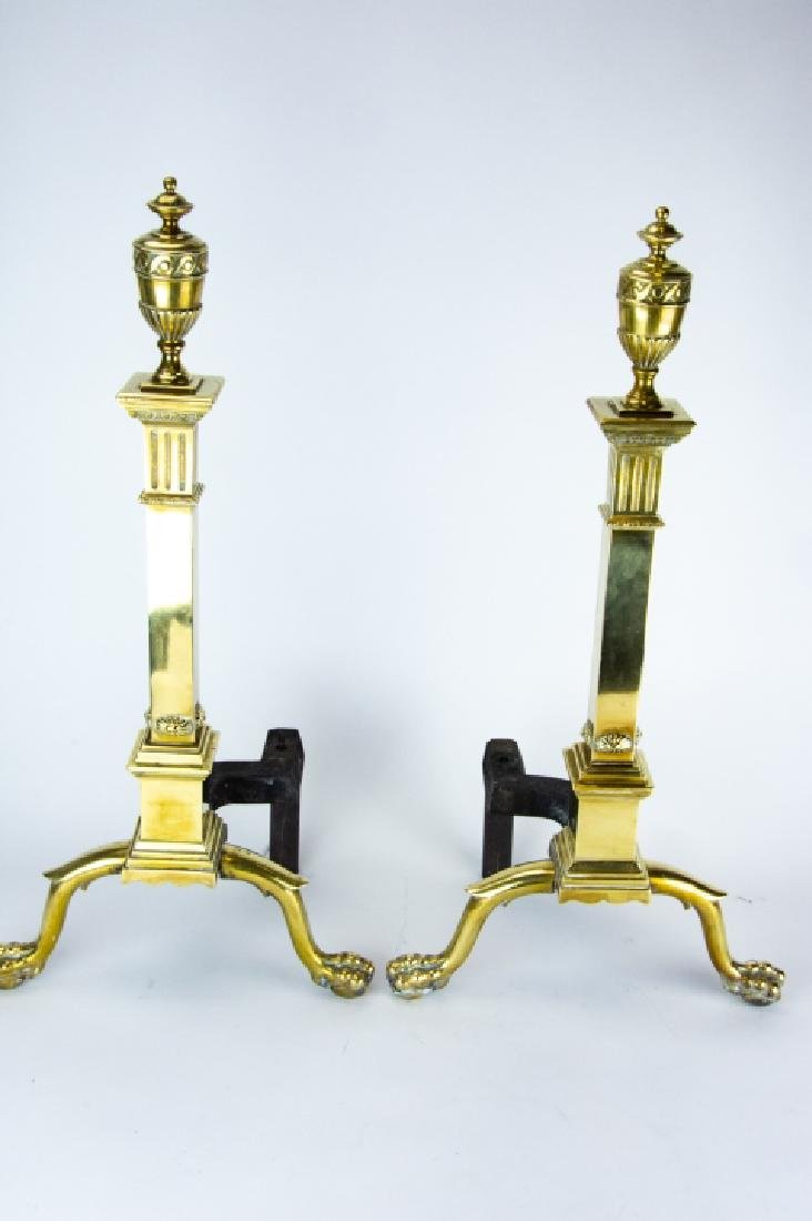 Brass Fire Place Andirons and Tools, Claw Foot - 8
