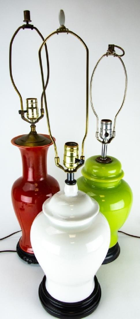 3 Vintage Vase and Ginger Jar Form Lamps on Bases
