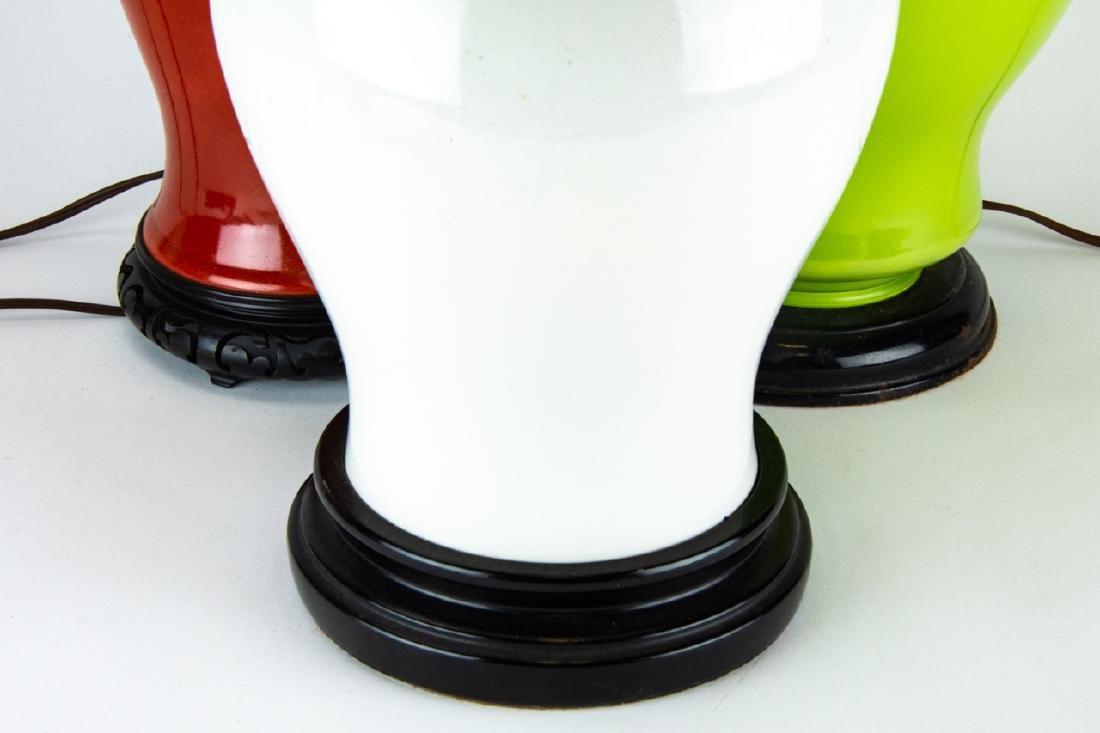 3 Vintage Vase and Ginger Jar Form Lamps on Bases - 4