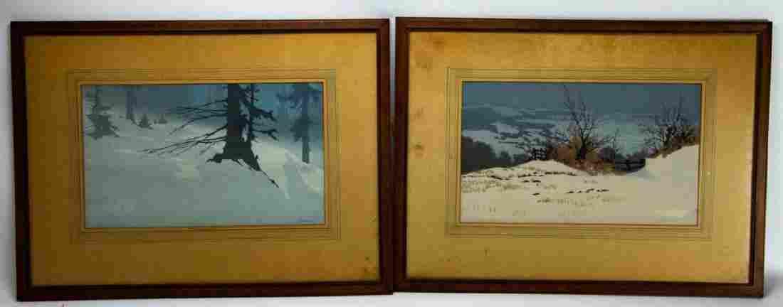 Pair Oscar Droege Signed Woodcut Prints