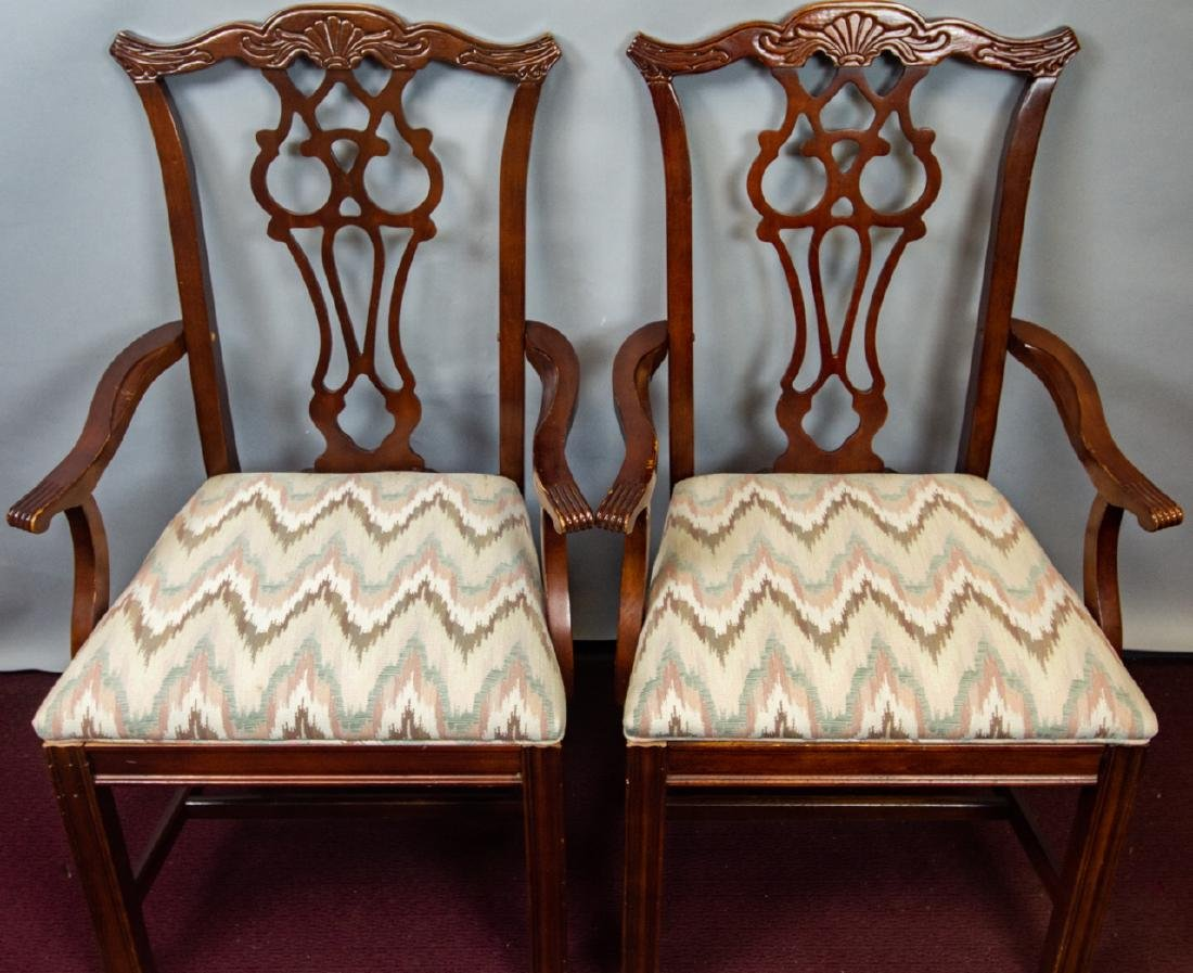 8 Bernhardt Chippendale Style Dining Chairs - 3