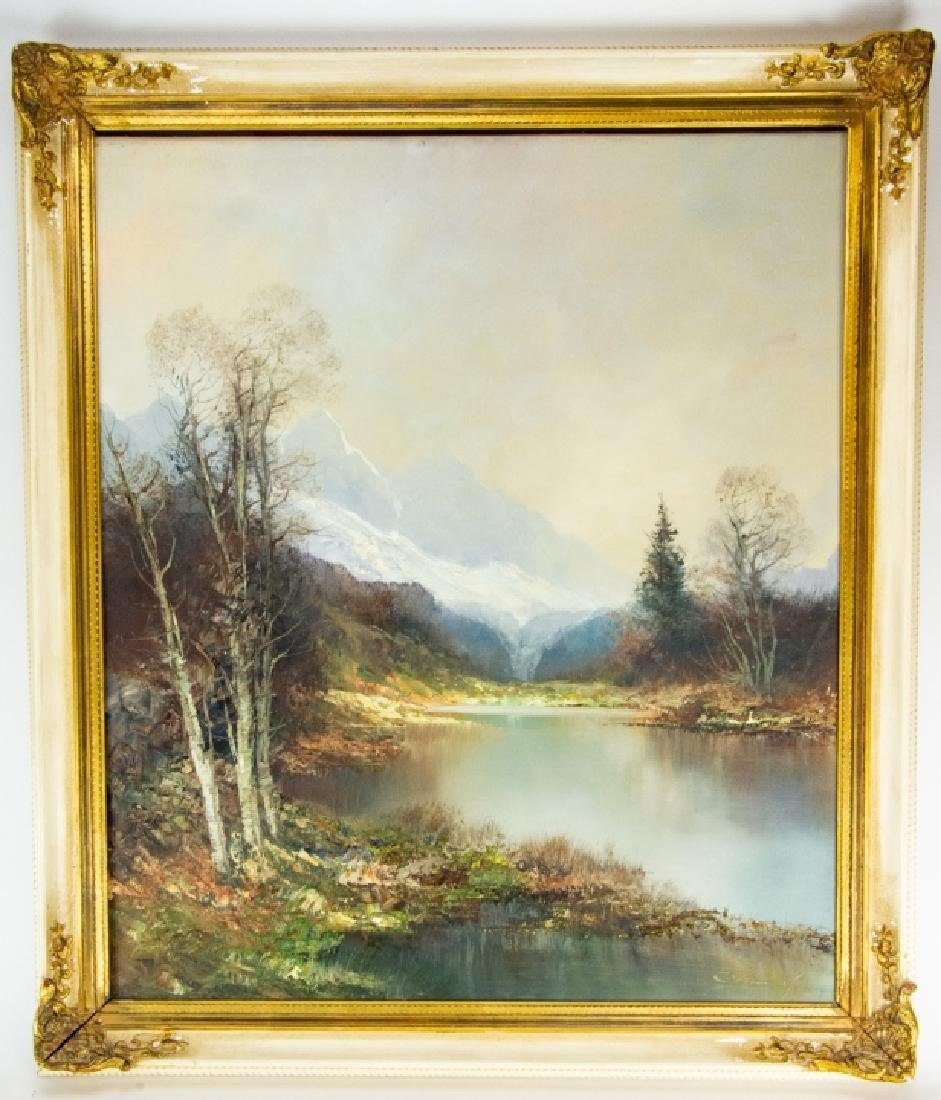 Signed Mountain Landscape Oil Painting