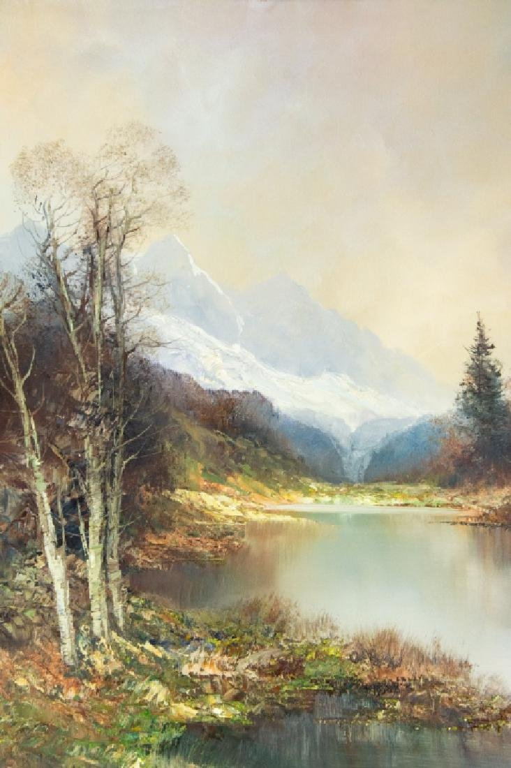 Signed Mountain Landscape Oil Painting - 4