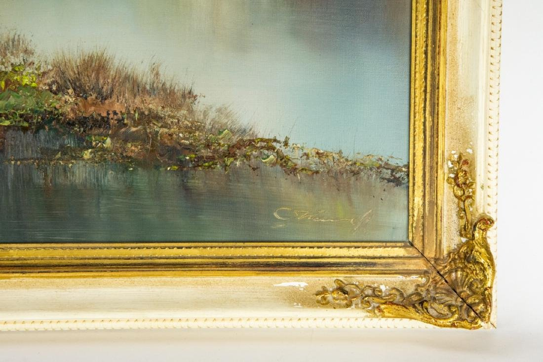 Signed Mountain Landscape Oil Painting - 8
