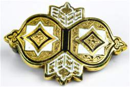 Antique 19th C Yellow Gold  Enamel Brooch Pin