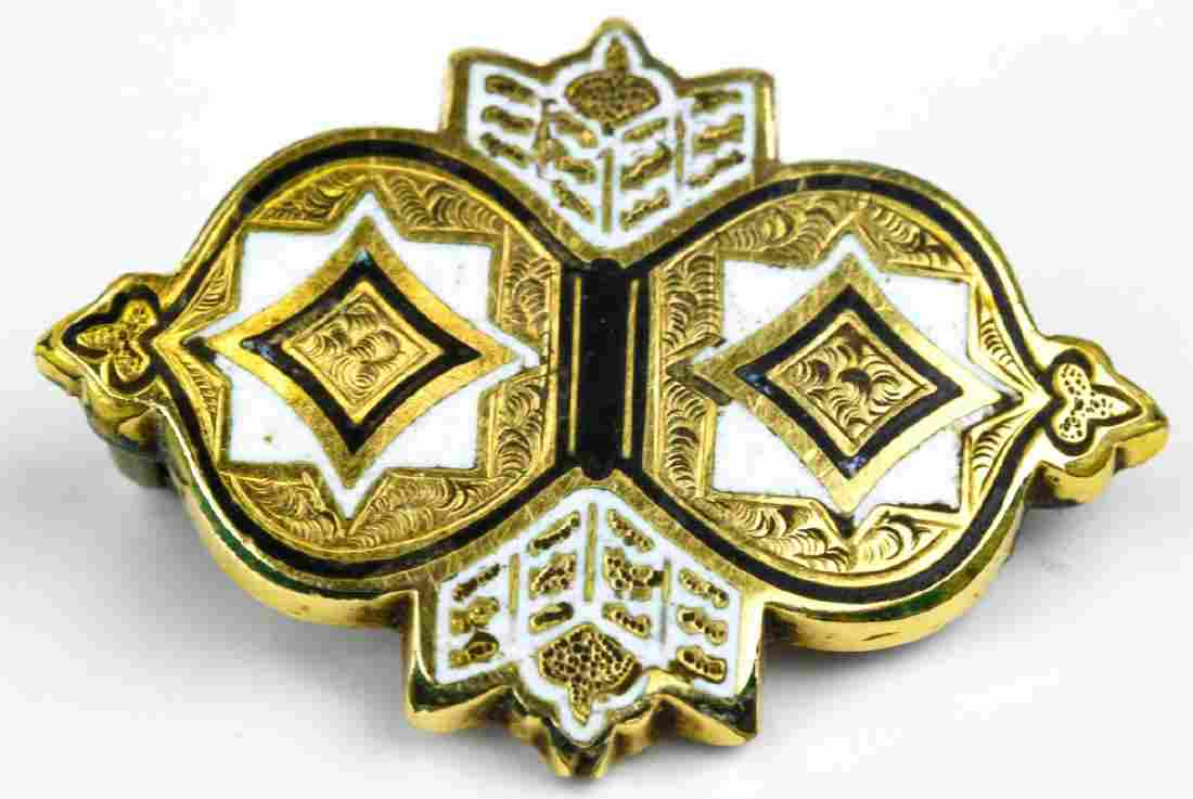 Antique 19th C Yellow Gold & Enamel Brooch Pin