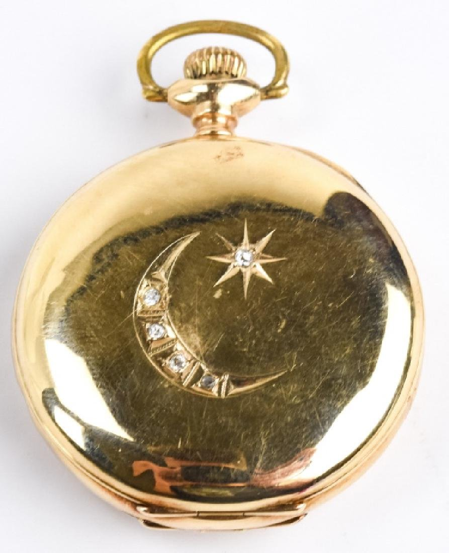 Antique 14k Gold & Diamond Waltham Pocket Watch
