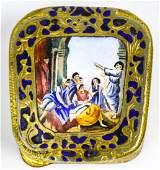 Vintage Italian Hand Painted Enamel Snuff Box