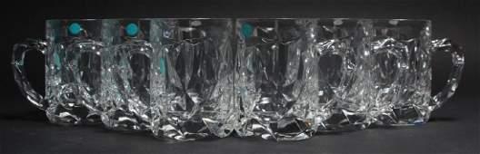 6 Tiffany & Co Rock Cut Crystal Beer Mugs