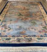 Chinese Art Deco Style Pictorial Wool Rug / Carpet
