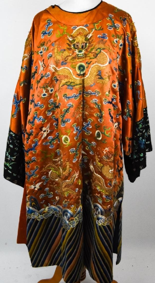 Antique Chinese Embroidered Dragon Silk Robe