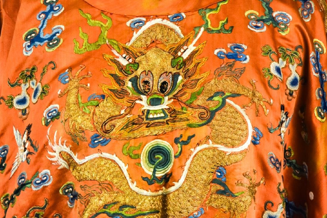 Antique Chinese Embroidered Dragon Silk Robe - 2