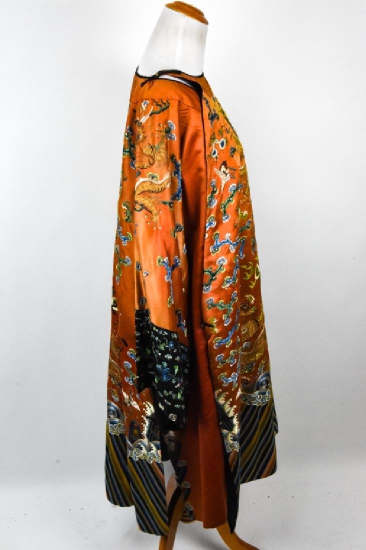 Antique Chinese Embroidered Dragon Silk Robe - 4
