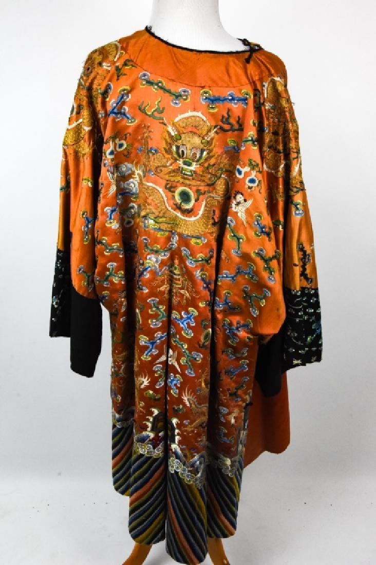 Antique Chinese Embroidered Dragon Silk Robe - 5