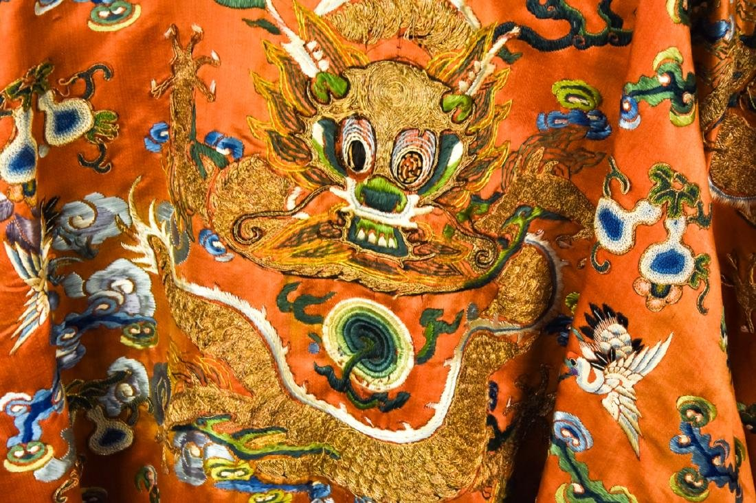 Antique Chinese Embroidered Dragon Silk Robe - 6