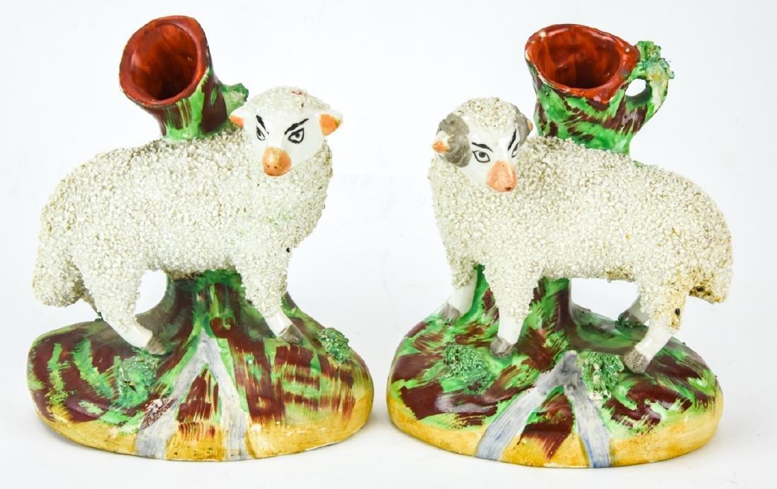 Pair of Antique English Staffordshire Sheep Vases
